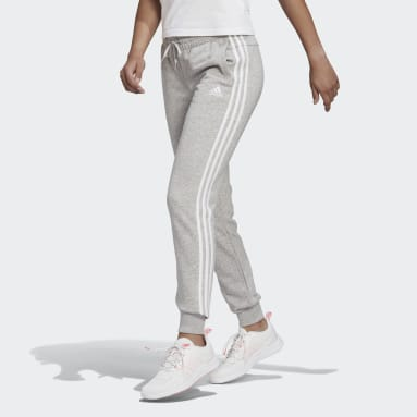 Women Sport Inspired Grey Essentials French Terry 3-Stripes Pants