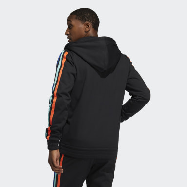 Heren Basketbal Zwart Harden Fleece Ritshoodie