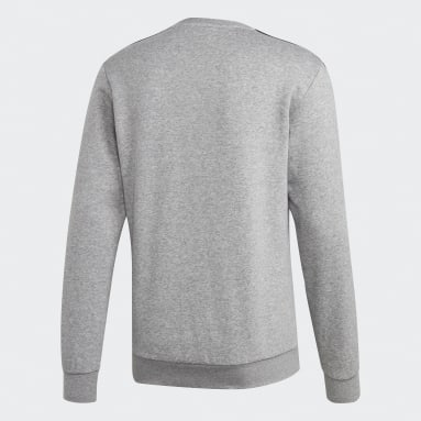 Heren Fitness En Training Grijs Essentials 3-Stripes Sweatshirt