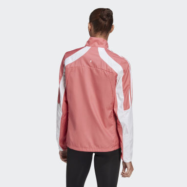 Women Running Pink Marathon 3-Stripes Jacket