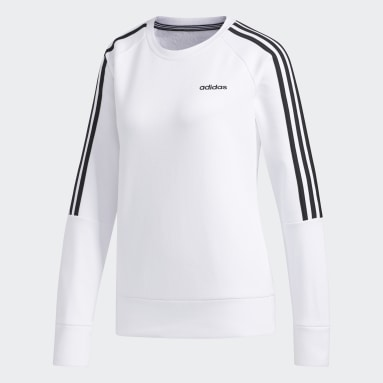 Women's Essentials White 3-Stripes Crew Sweatshirt