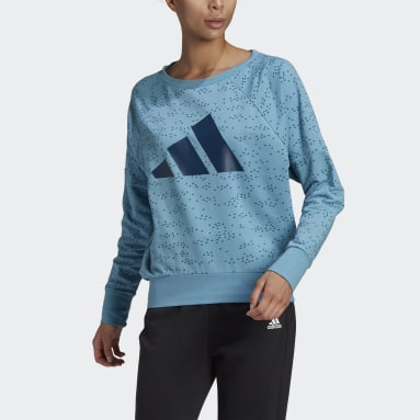 Women's Sportswear Blue adidas Sportswear Winners Badge of Sport Crew Sweatshirt