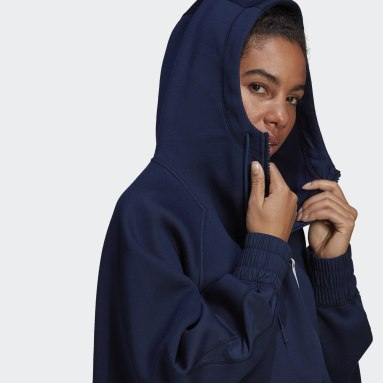 Women adidas by Stella McCartney Blue adidas by Stella McCartney Half-Zip Hooded Sweatshirt