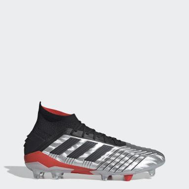 Calzado de Fútbol Predator 19.1 Terreno Firme Plata Hombre Fútbol
