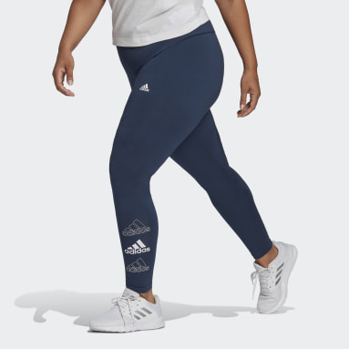 Women's Essentials Blue adidas Essentials Stacked Logo High-Rise Leggings (Plus Size)