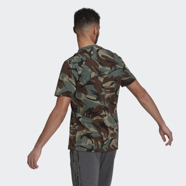 Men Sportswear Green Essentials Camouflage T-Shirt