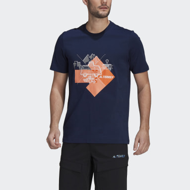 Men TERREX Blue Travel Graphic T-Shirt