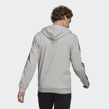 Men Sport Inspired Grey Essentials French Terry 3-Stripes Full-Zip Hoodie