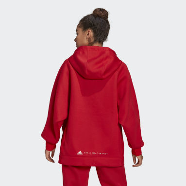 adidas by Stella McCartney Half-Zip Hooded Genser Rød