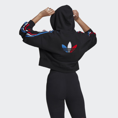 Women Originals Black Adicolor Tricolor Trefoil Crop Hoodie