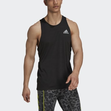 Men Running Black Runner Singlet