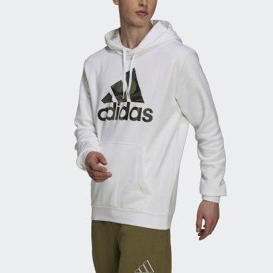 Muži Sportswear biela Mikina skapucňou Essentials Fleece Camo-Print