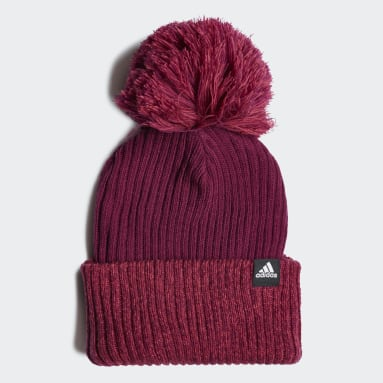 Children Outdoor Burgundy 3-Stripes Beanie