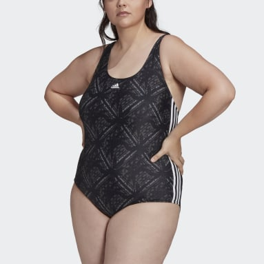 Women Swimming Black SH3.RO 3-Stripes Festivibes Swimsuit (Plus Size)