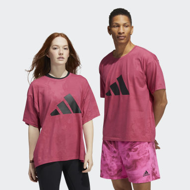 Fitness En Training Roze Unite 3-Stripes Floral T-shirt (Uniseks)