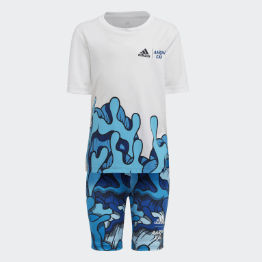 Girls Gym & Training White Aaron Kai Primeblue Summer Set