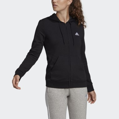 Women Sport Inspired Black adidas Essentials Full-Zip Hoodie