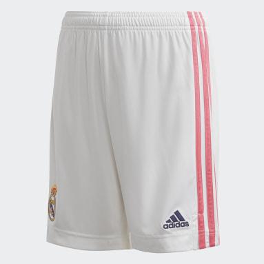 เด็กผู้ชาย ฟุตบอล สีขาว กางเกงขาสั้น Real Madrid 20/21 Home