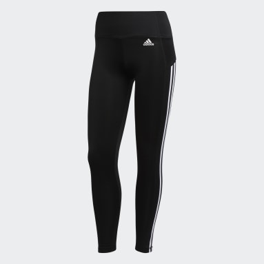 Women Gym & Training Black 3-Stripes 7/8 Leggings