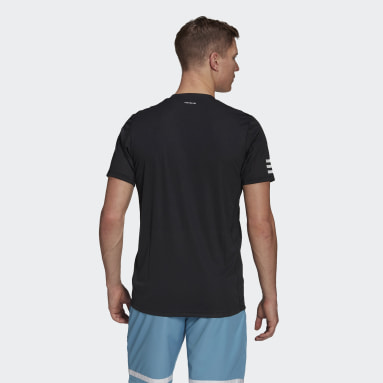 Men Tennis Black Club Tennis 3-Stripes T-Shirt