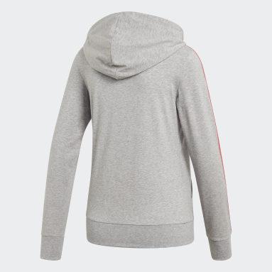 Women Sport Inspired Grey Essentials 3-Stripes Hoodie