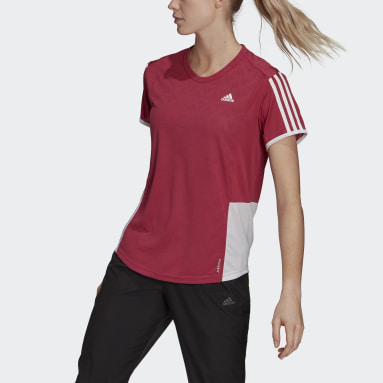 Women Running Pink Own The Run 3-Stripes Iteration Tee