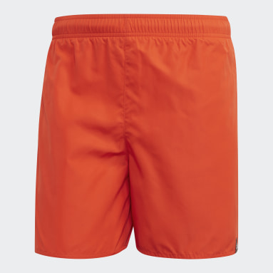 Men Water Sports Orange Solid Swim Shorts