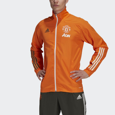 Men Football Orange Manchester United Presentation Track Top