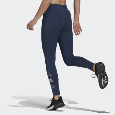 Frauen Sportswear adidas Essentials Stacked Logo High-Rise Tight Blau