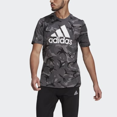 Men Sportswear Grey Essentials Camouflage T-Shirt
