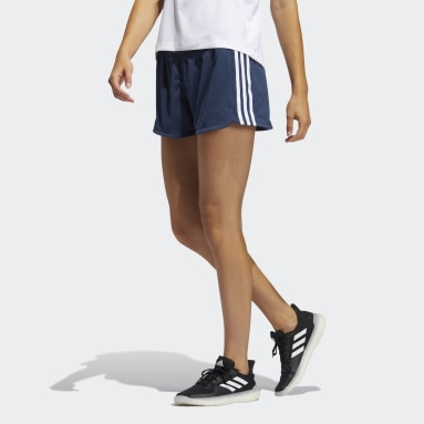 Dames Cricket Blauw Pacer 3-Stripes Knit Short