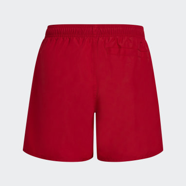 Boys Swimming Red Classic Badge of Sport Swim Shorts