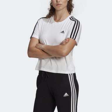 Women Sport Inspired White Essentials Loose 3-Stripes Cropped Tee