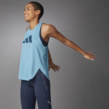 Camiseta sin mangas 3 Bar Logo Azul Mujer Running