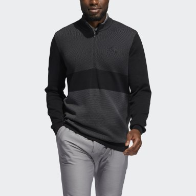 Men Golf Black Sport Quarter-Zip Sweater