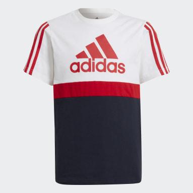 T-shirt adidas Essentials Colorblock Blanc Garçons Sportswear