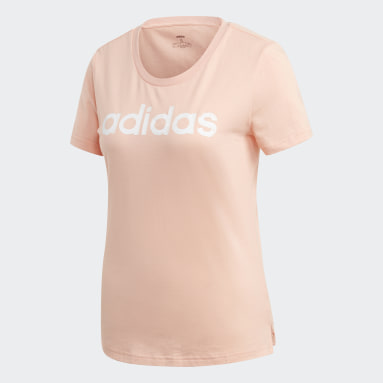 Women Sportswear Pink Brush Effect Logo Graphic T-Shirt
