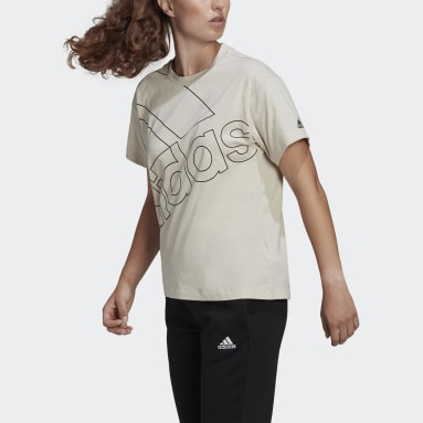 Women's Essentials Beige adidas Giant Logo Tee (Gender Neutral)