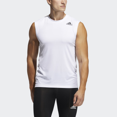 Heren Fitness En Training Wit Techfit Mouwloos Fitted Shirt