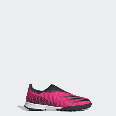 Kids Football Pink X Ghosted.3 Laceless Turf Boots