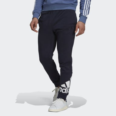 Men Sport Inspired Blue Essentials French Terry Tapered Cuff Logo Pants