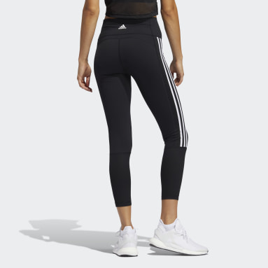 Women Yoga Black Believe This 2.0 3-Stripes Ribbed 7/8 Tights