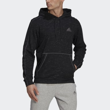 Herr Sportswear Svart Essentials Mélange Embroidered Small Logo Hoodie