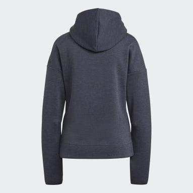Women Sportswear Blue adidas Z.N.E. Hoodie featuring Fast Release Zipper