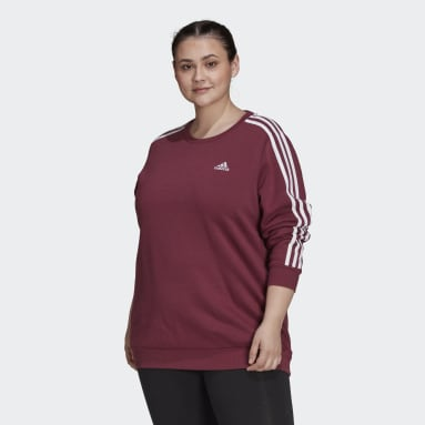 Women Sportswear Red Essentials 3-Stripes Fleece Sweatshirt (Plus Size)