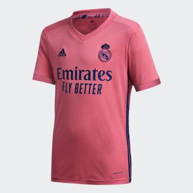 Camisa 2 Real Madrid 20/21 Rosa Meninos Futebol