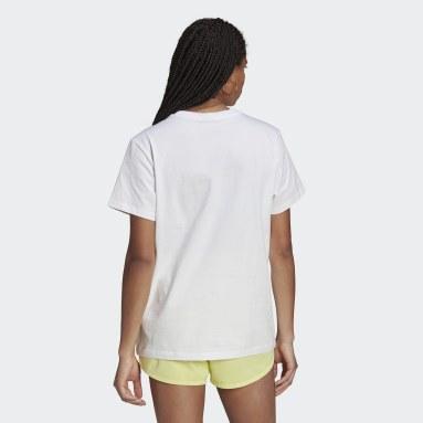 ผู้หญิง Originals สีขาว เสื้อยืดทรงหลวม Collegiate