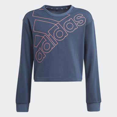 Felpa adidas Essentials Logo Blu Ragazza Sportswear