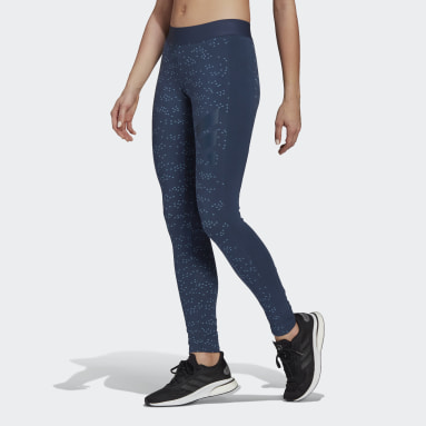 Frauen Sportswear adidas Sportswear Allover Print Tight Blau
