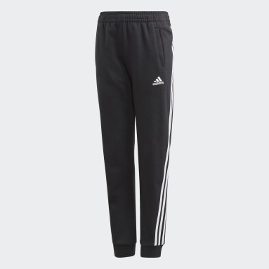 Girls Lifestyle Black 3-Stripes Tapered Leg Pants